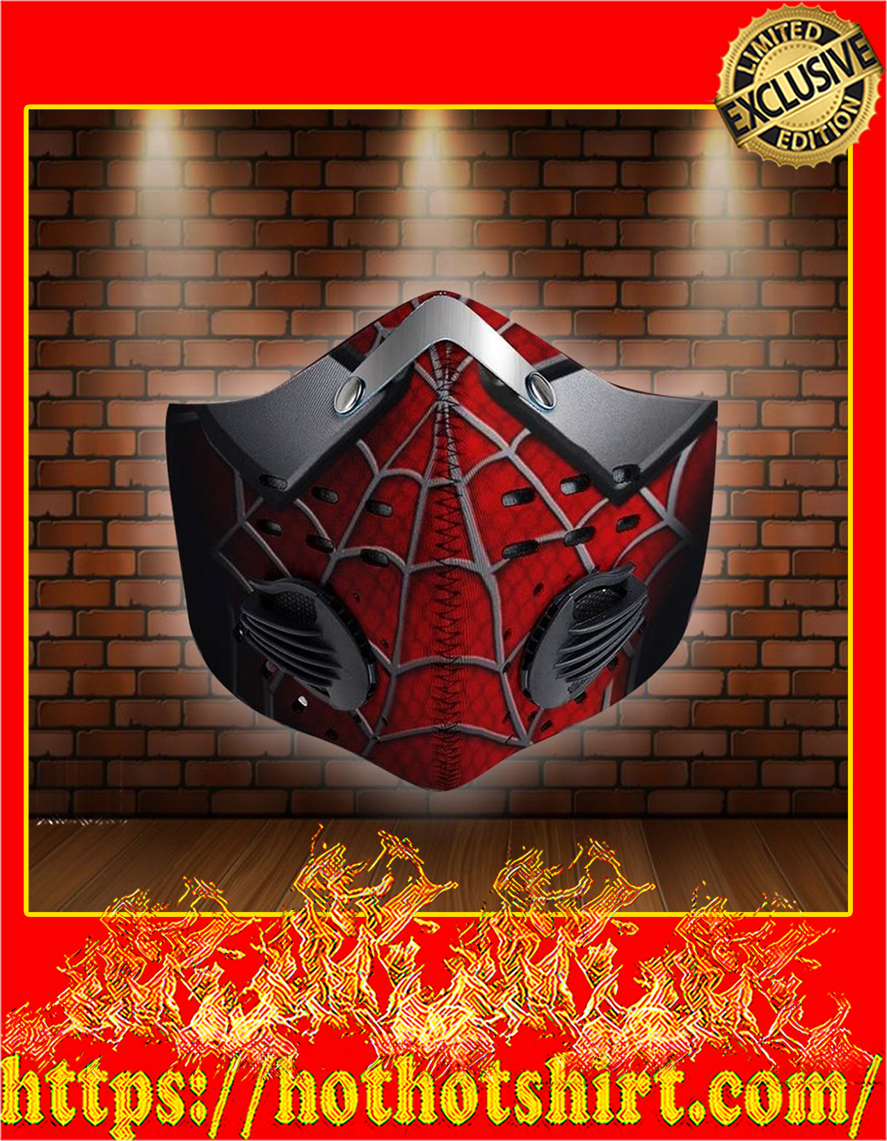 Spider man filter face mask - detail