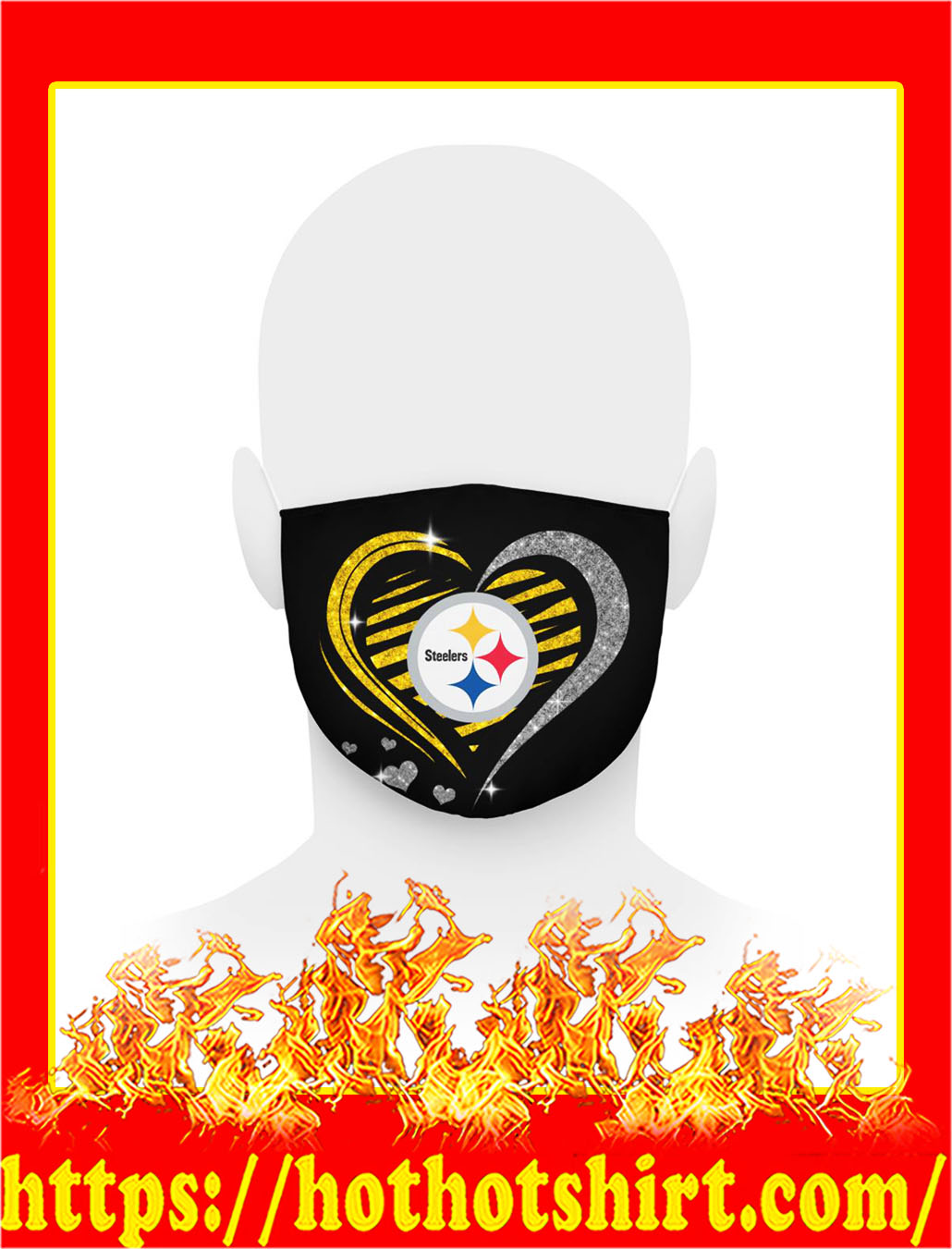 Steelers glitter heart face mask- pic 1