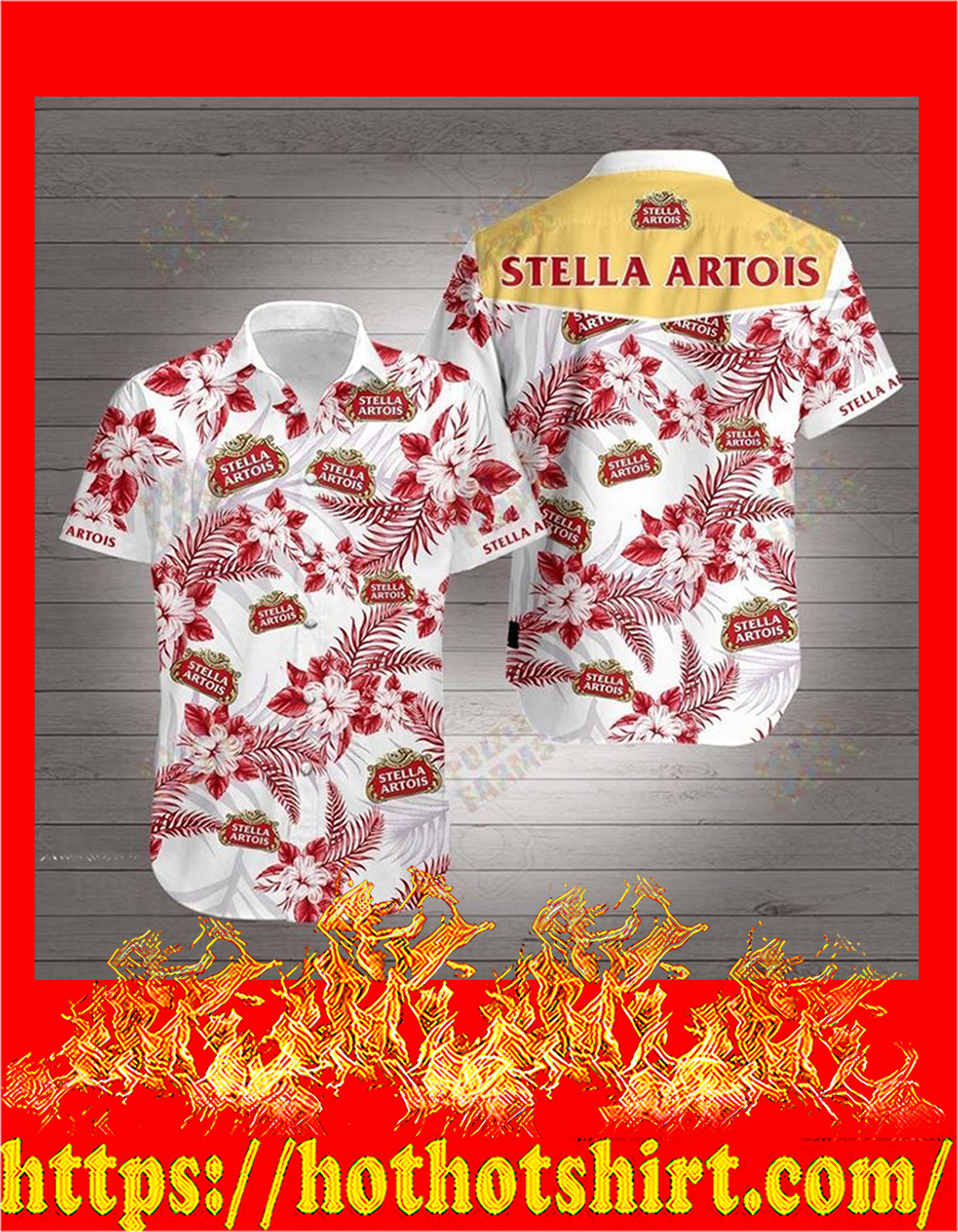 Stella artois hawaiian shirt - detail