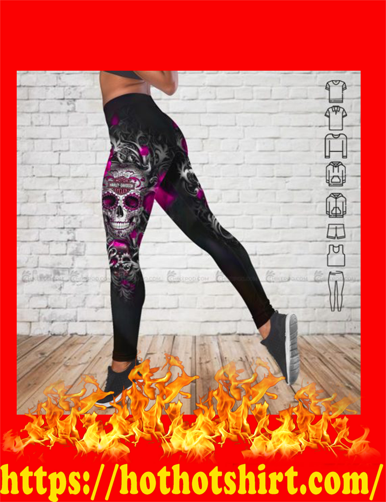 Sugar skull harley davidson 3d all over printed legging