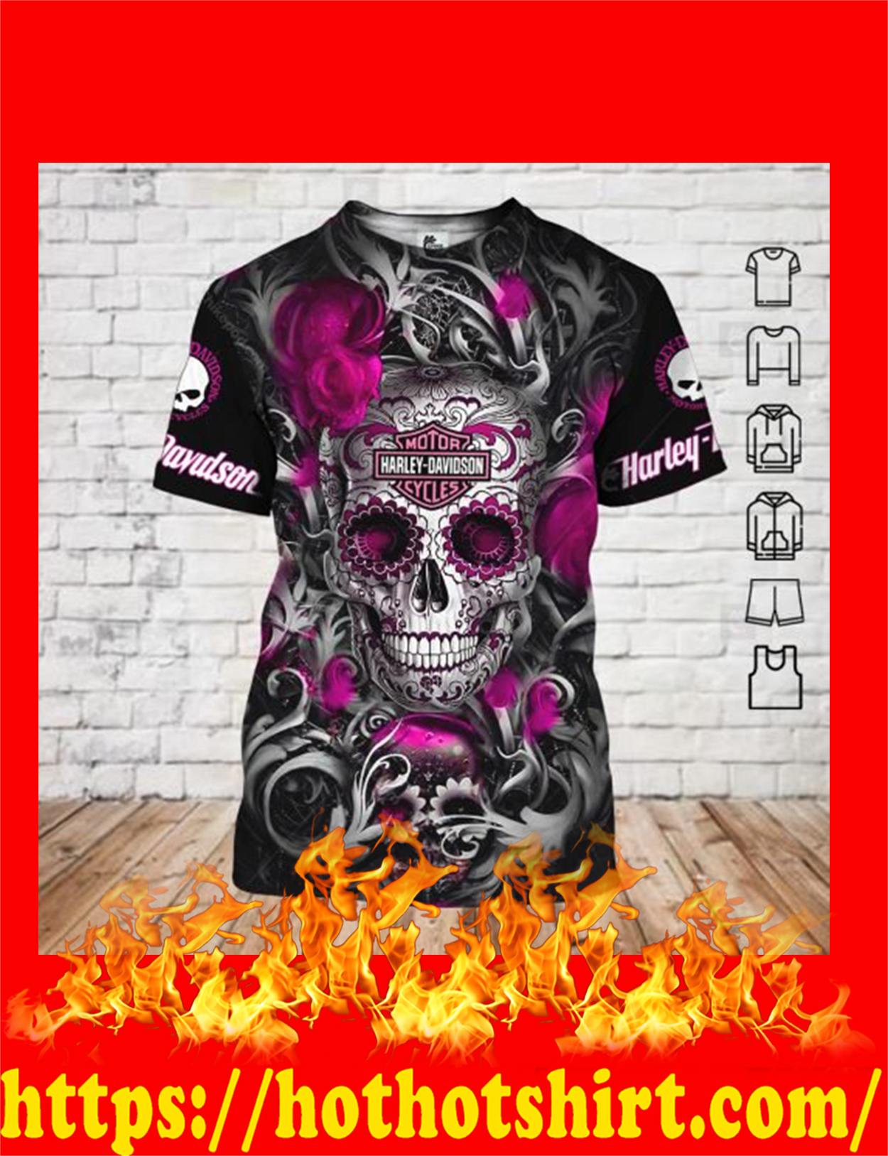 Sugar skull harley davidson 3d all over printed t-shirt