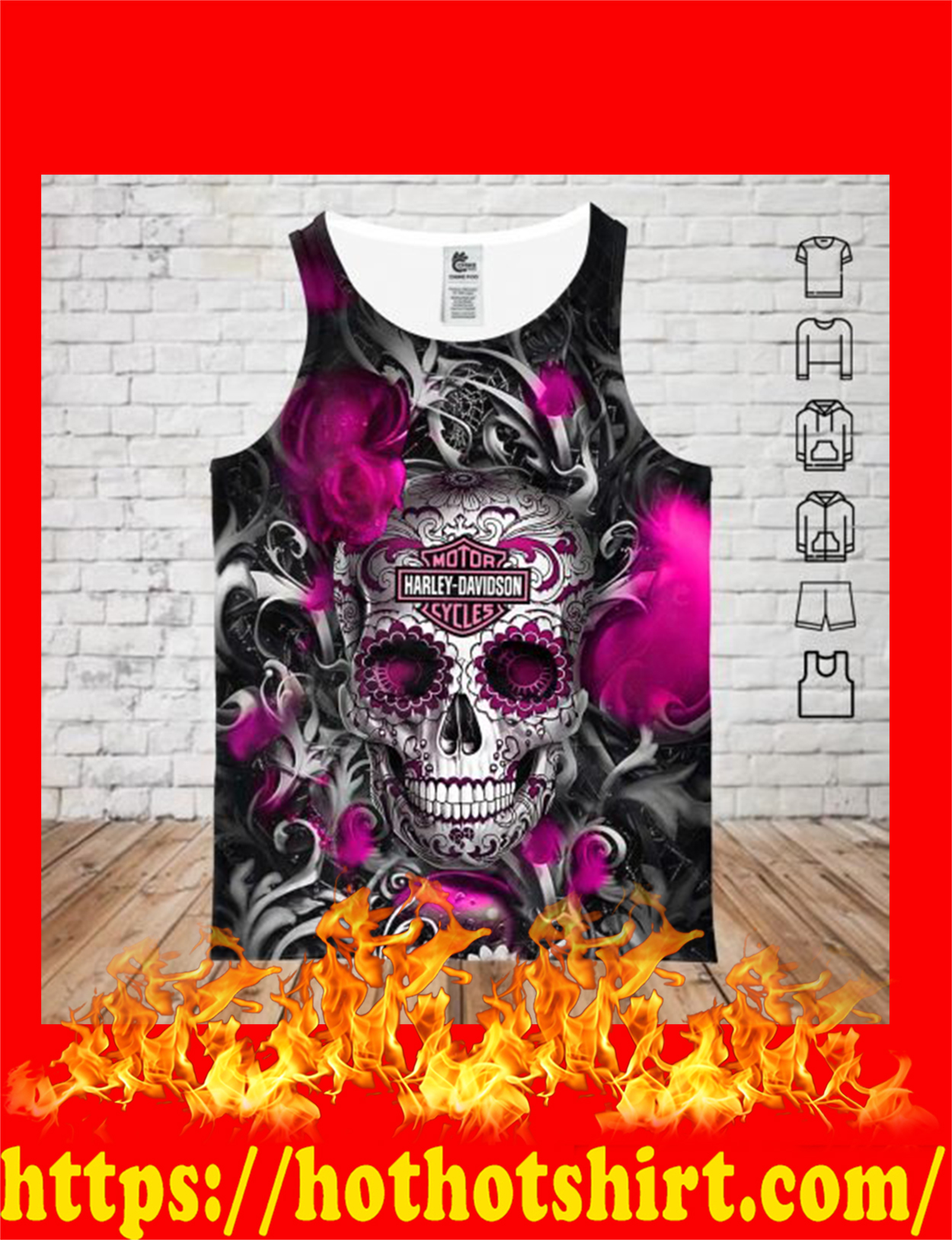 Sugar skull harley davidson 3d all over printed tank top