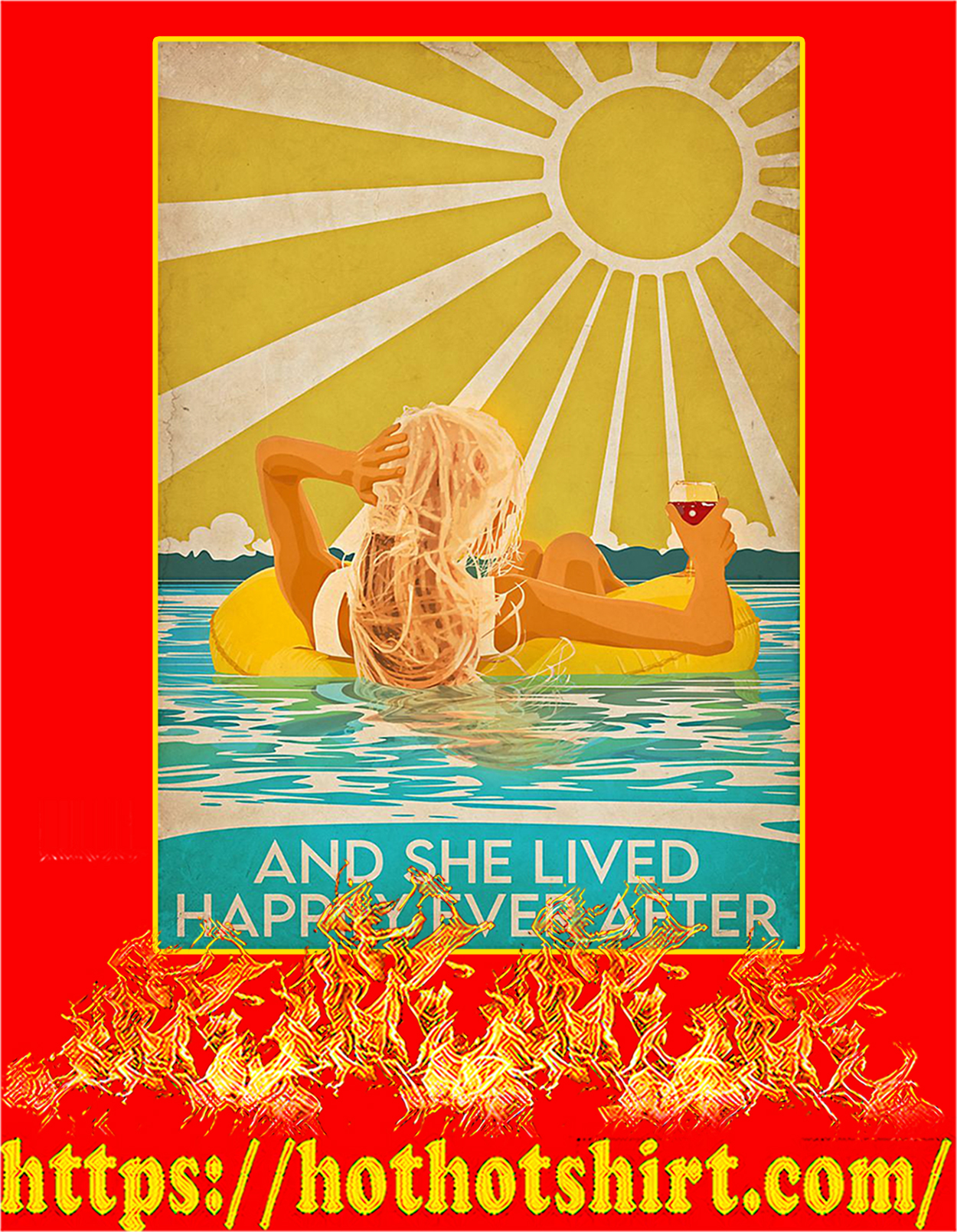 Swimming blonde and she lived happily after poster - A3