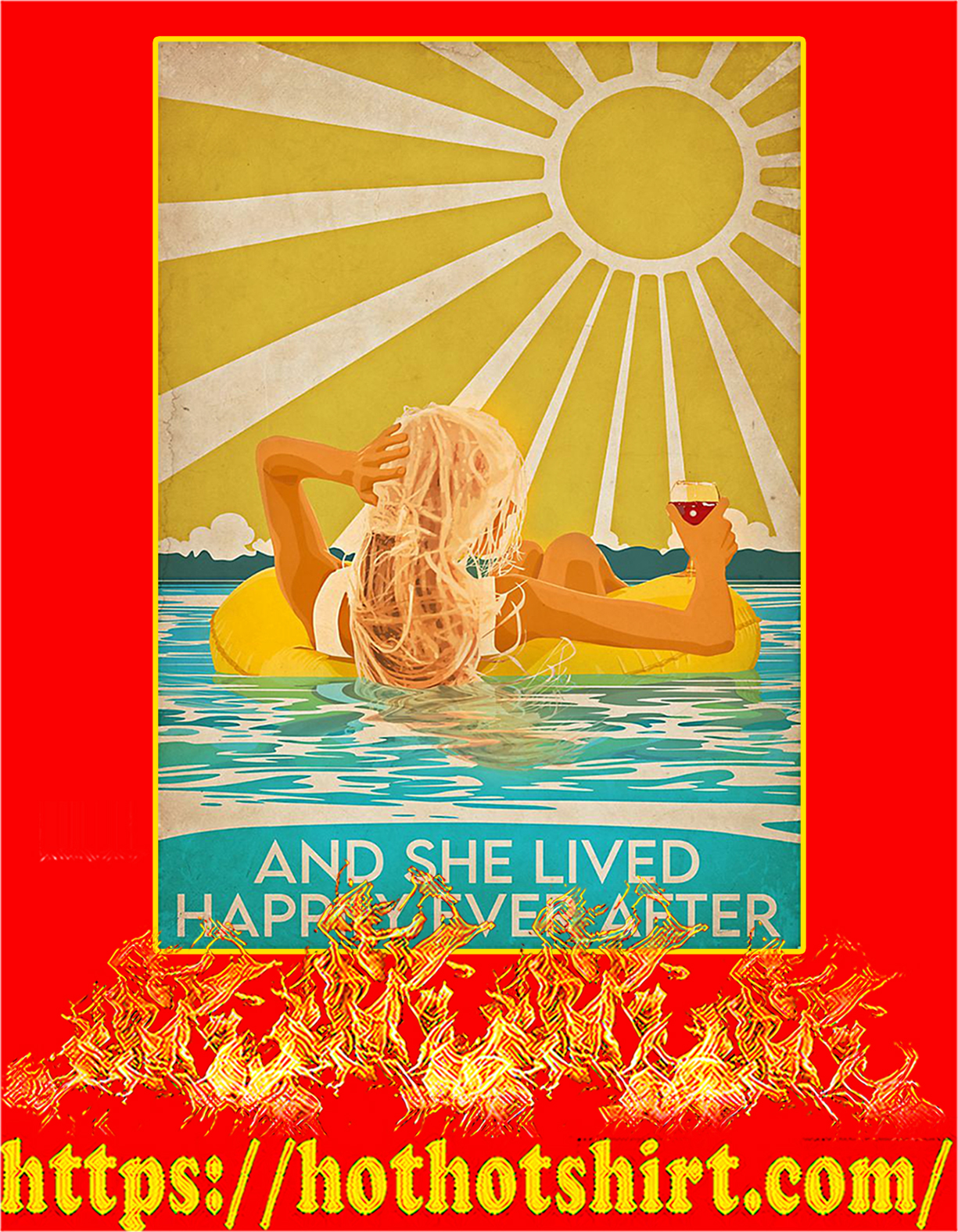 Swimming blonde and she lived happily after poster - A4