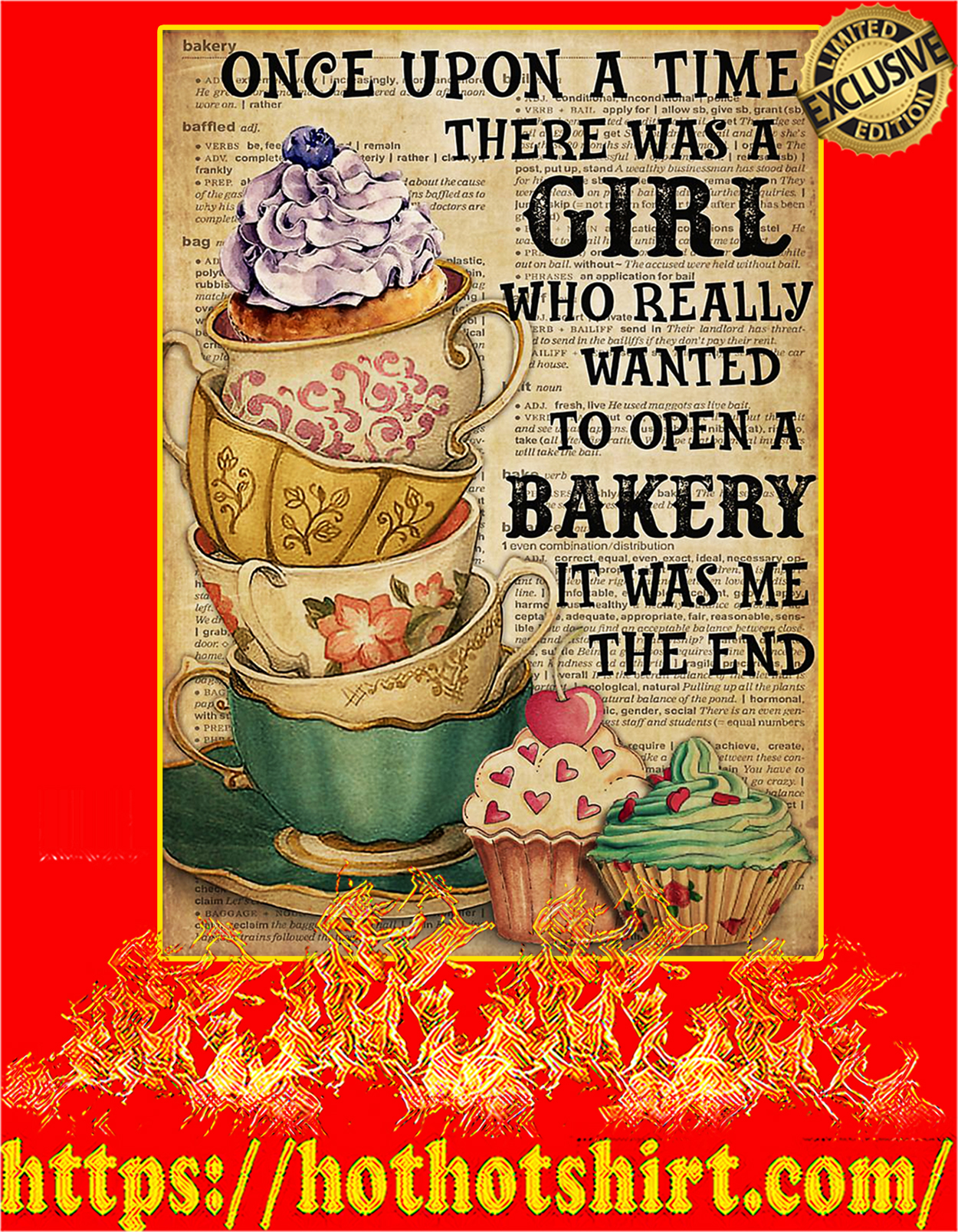 There was a girl who really wanted to open a bakery poster - A3