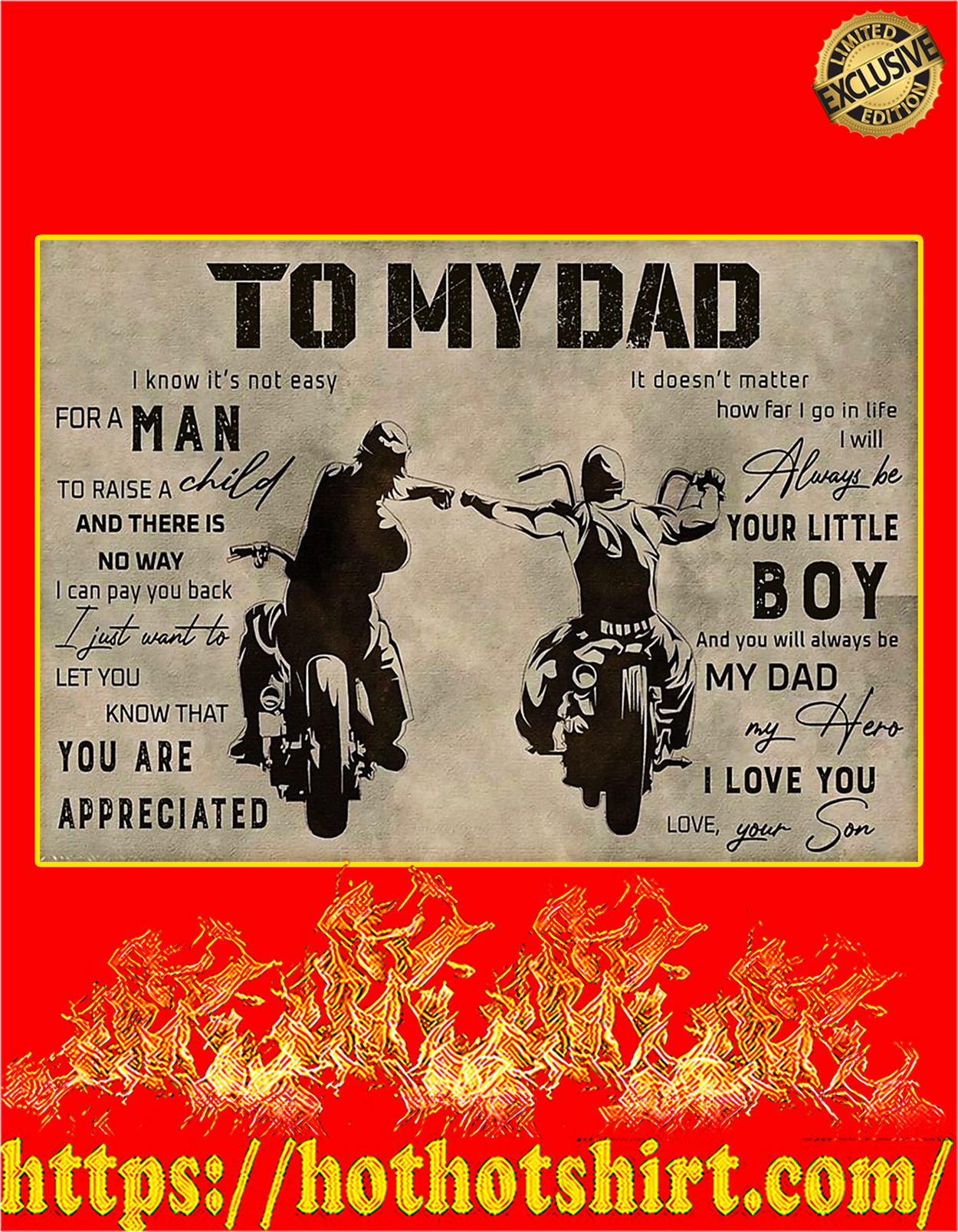 To my dad son biker poster - A3