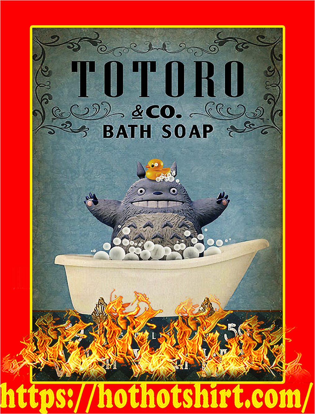 Totoro co bath soap wash your hands poster - A4