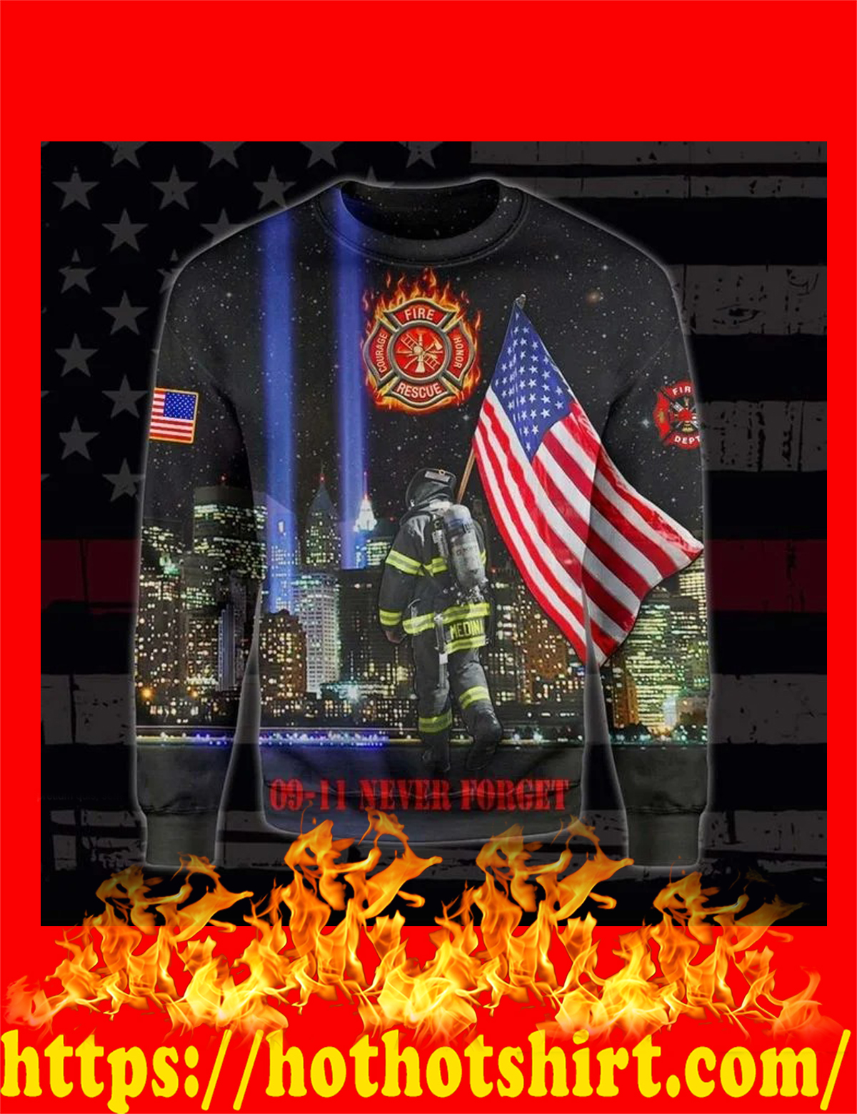 US firefighters 09 11 never forget all over printed long sleeves