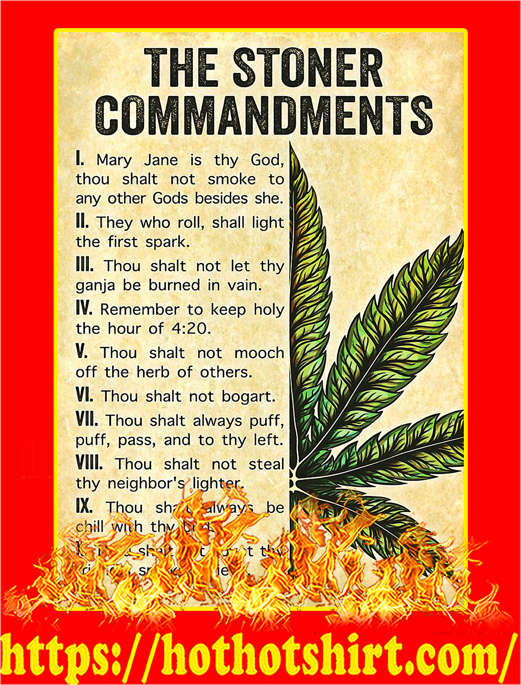 Weed cannabis the stoner commandments poster - A3