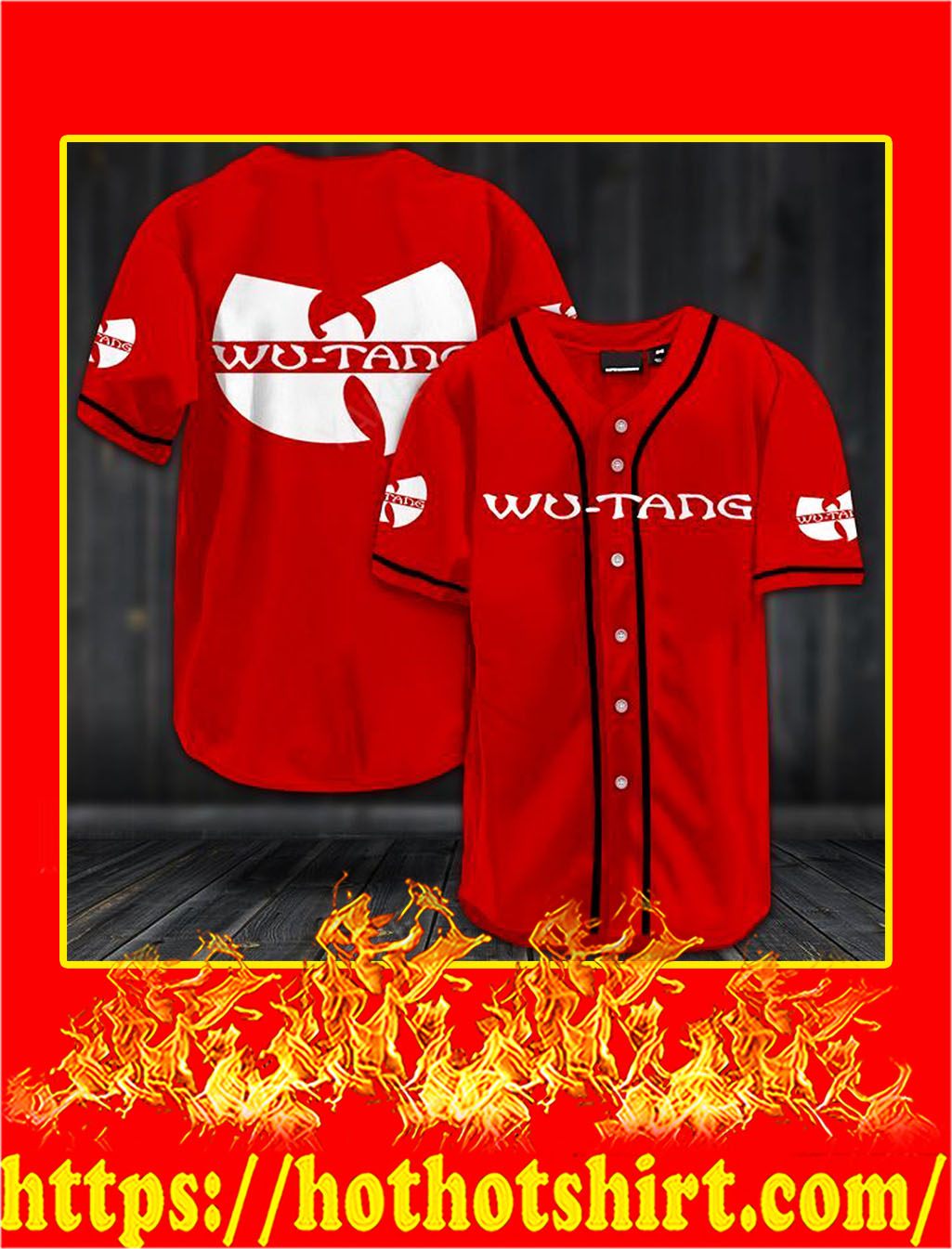 Wu-tang clan hawaiian shirt- red