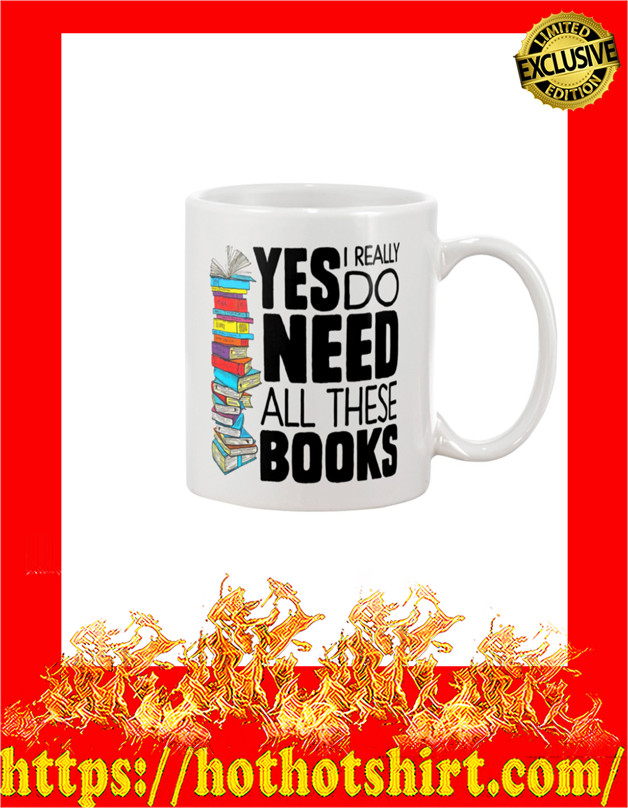 Yes i really do need all these books mug - detail