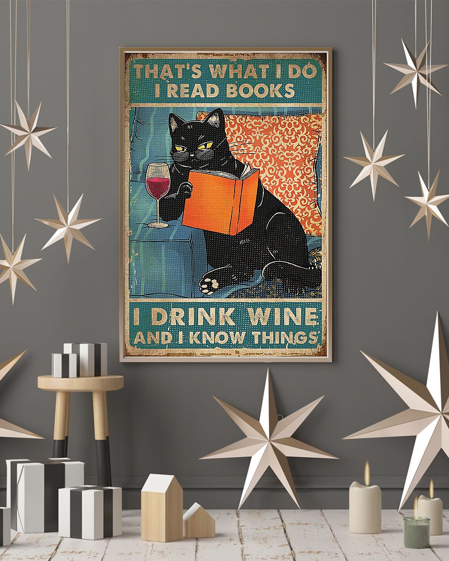 Cat That's what I do i read books i drink wine poster - pic 4