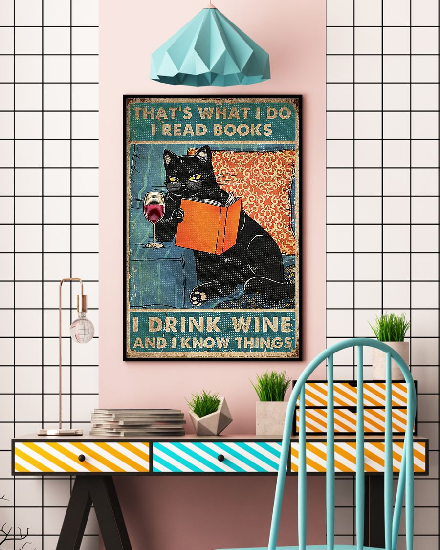 Cat That's what I do i read books i drink wine poster - pic 5