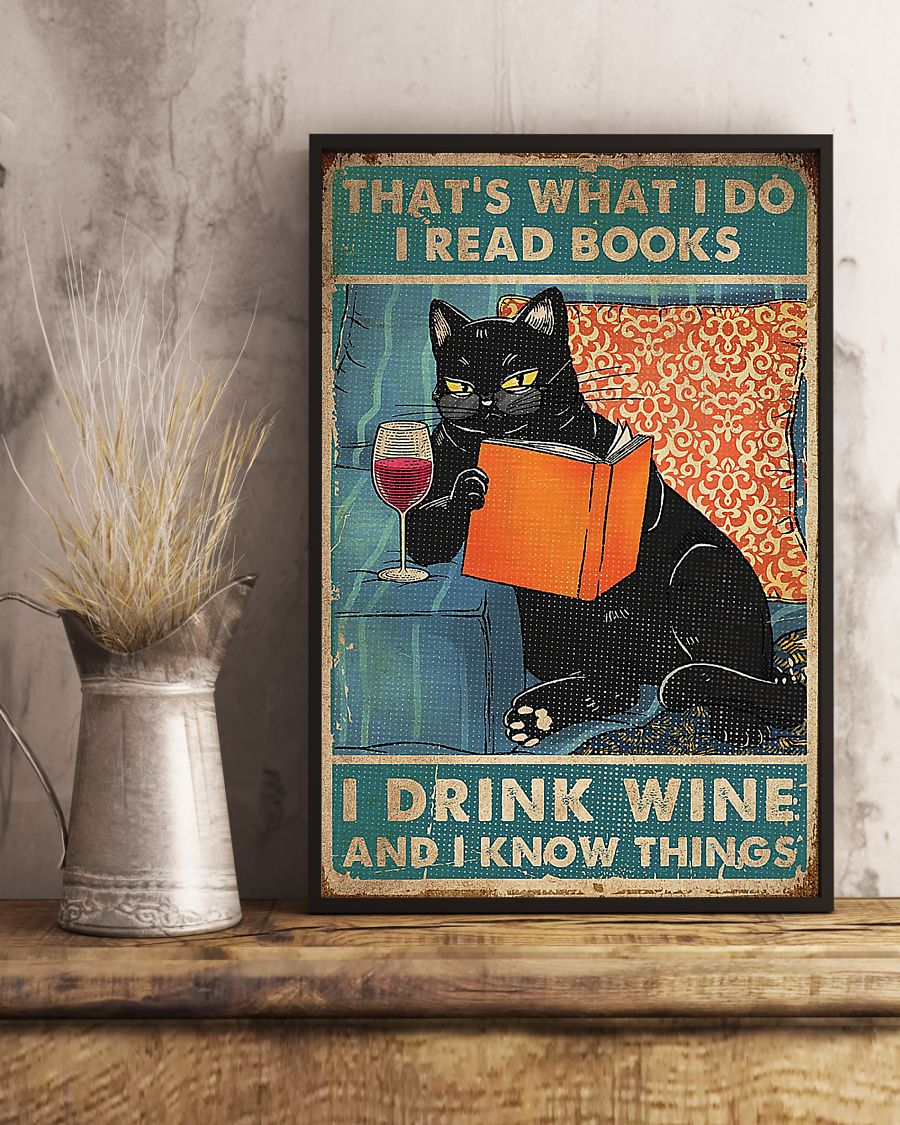 Cat That's what I do i read books i drink wine poster - pic 1