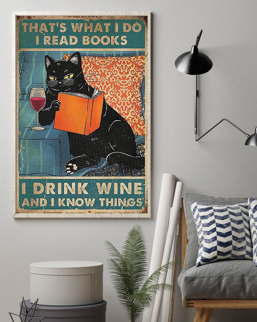 Cat That's what I do i read books i drink wine poster - pic 2