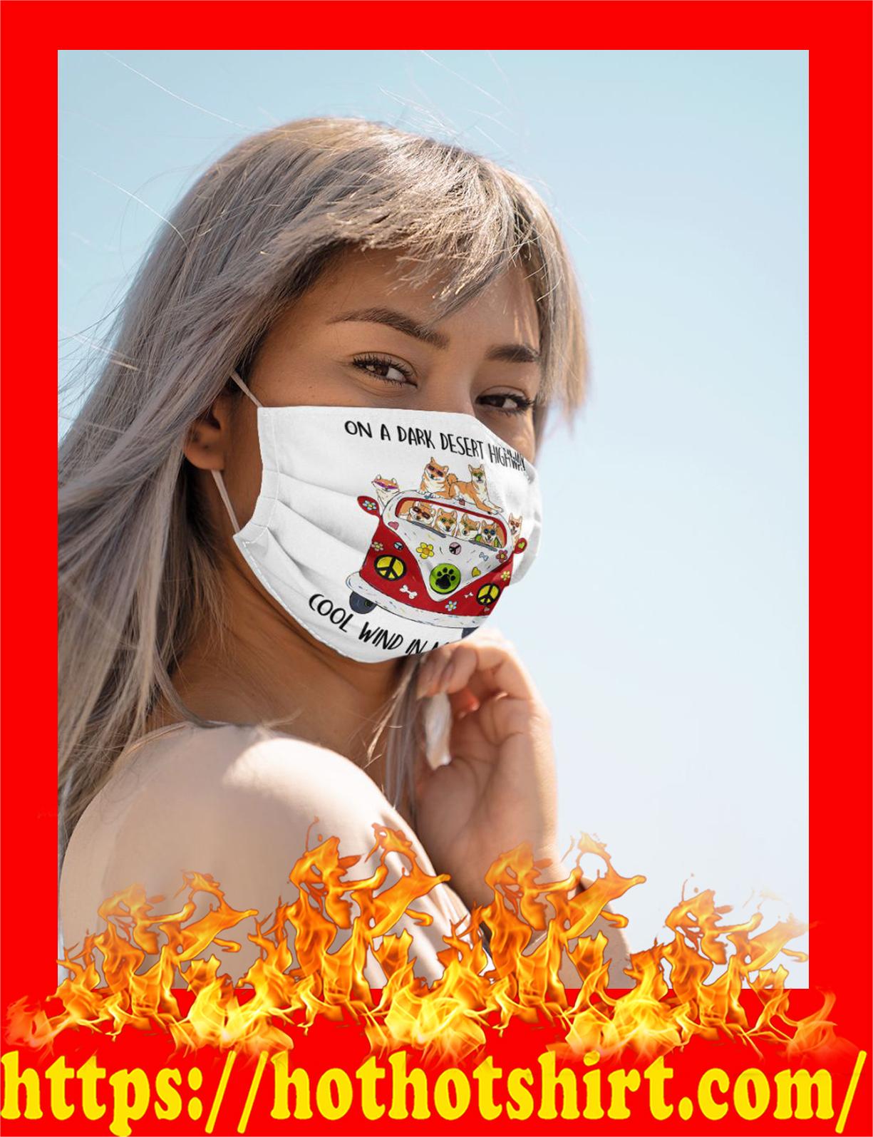 Akita dog On a dark desert highway cool wind in my hair cloth mask - detail