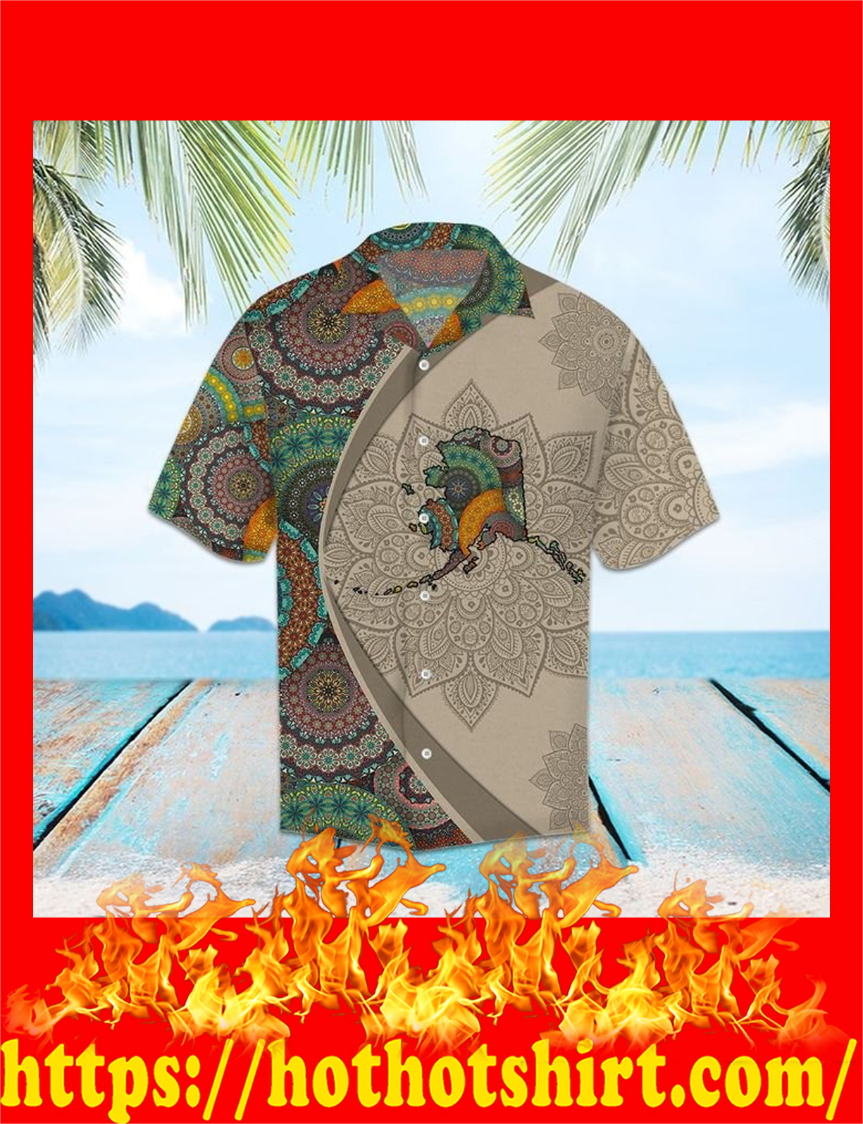 Alaska mandala hawaiian shirt - detail