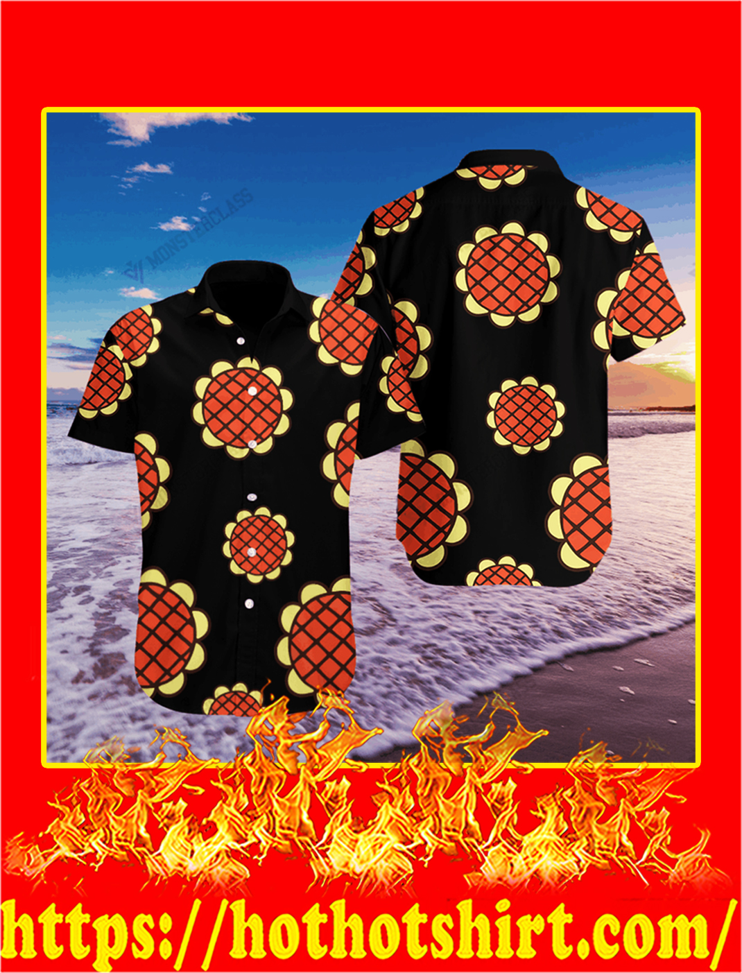 Anime one piece luffy hawaiian shirt - M