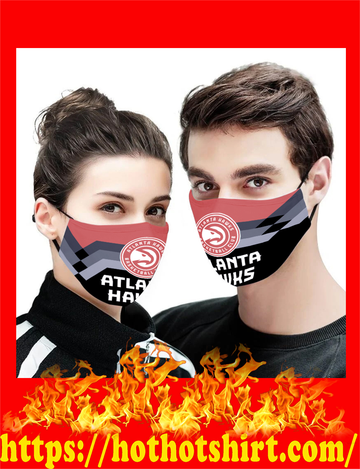 Atlanta Hawks NBA face mask - detail
