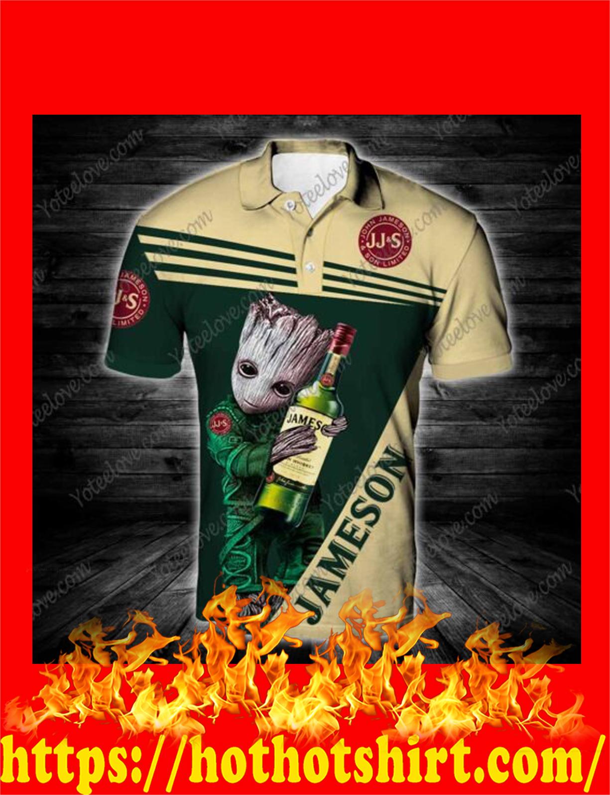 Baby groot hug jameson 3d polo shirt 1