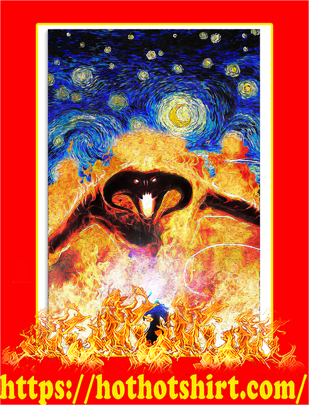 Balrog LOTR fire demon starry night poster - A1