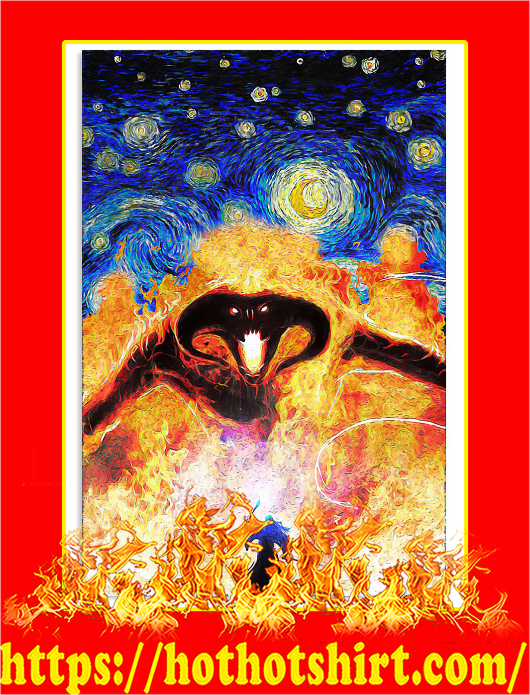 Balrog LOTR fire demon starry night poster - A3