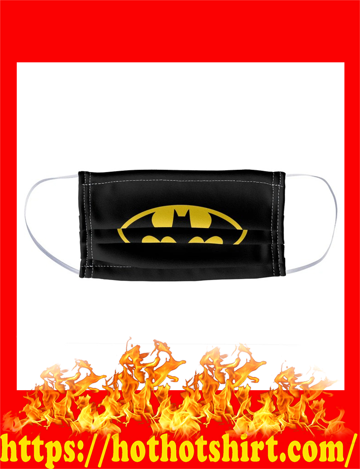 Batman bat shield logo face mask - detail
