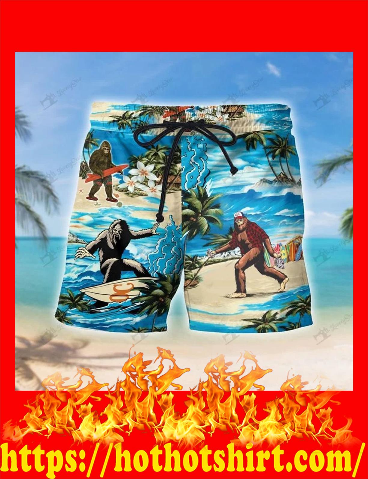 Bigfoot hawaii hawaiian shirt and shorts 1