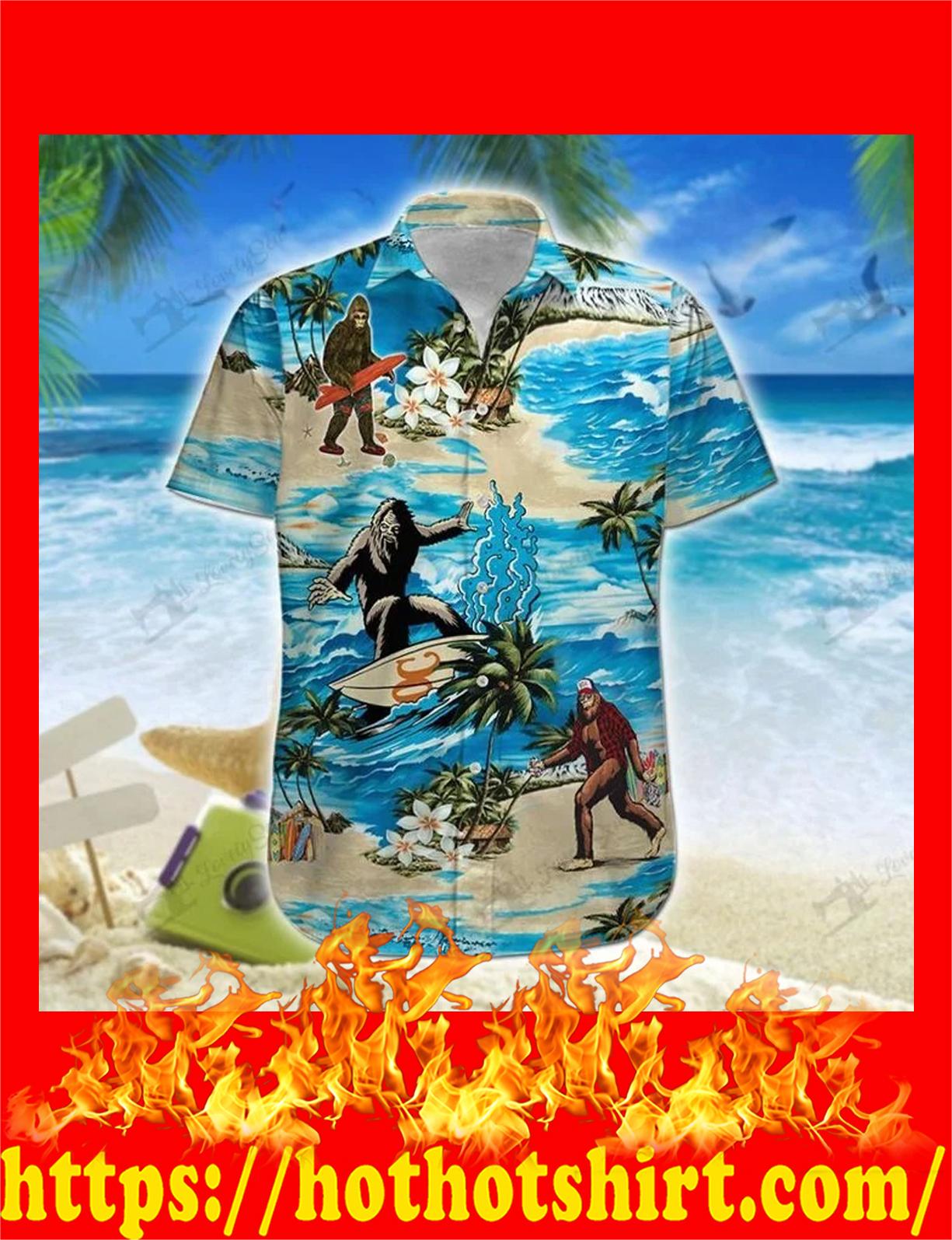 Bigfoot hawaii hawaiian shirt and shorts 2