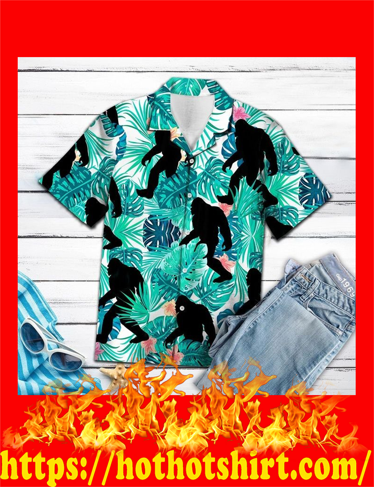 Bigfoot tropical hawaii shirt - detail