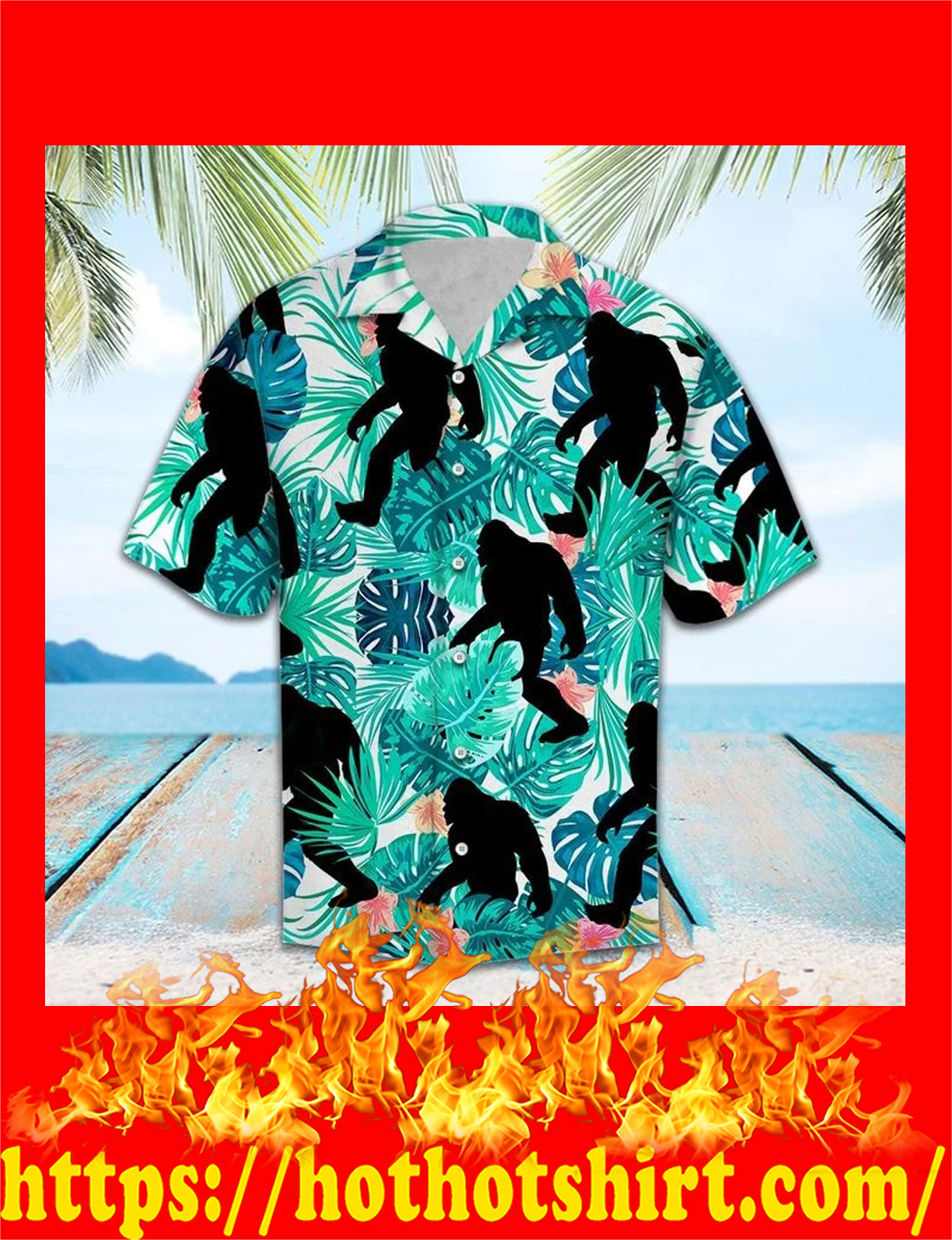 Bigfoot tropical hawaii shirt