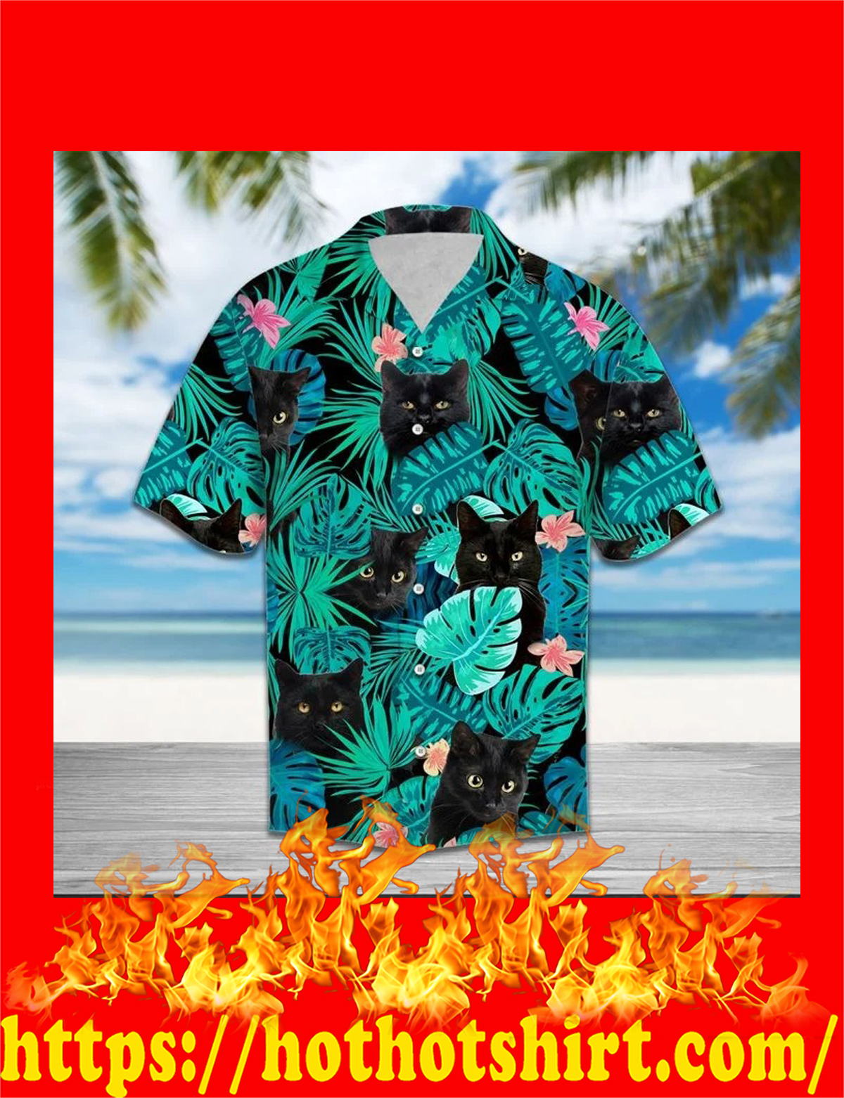 Black cat tropical hawaiian shirt - detail