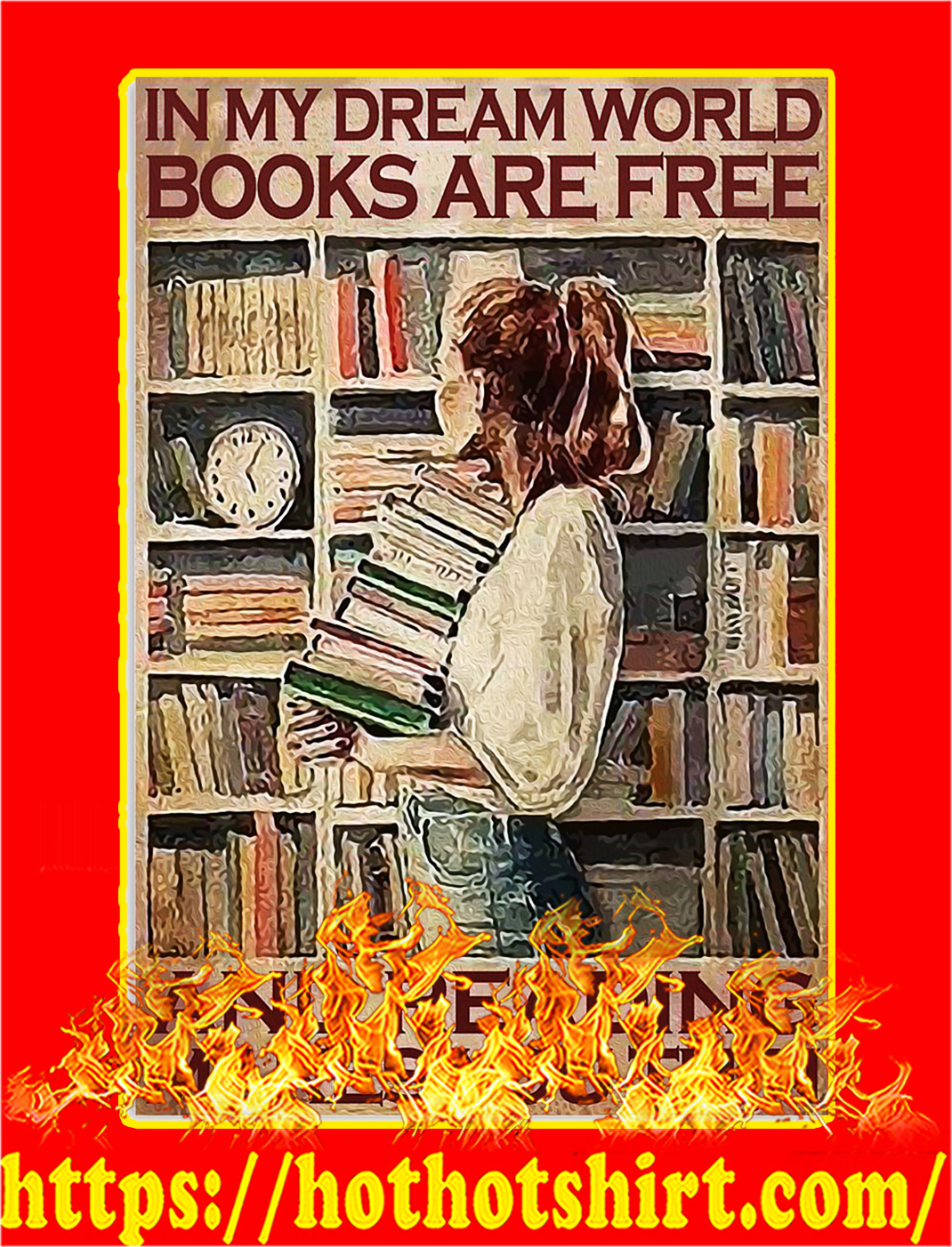 Books are free and reading makes you thin poster - A2