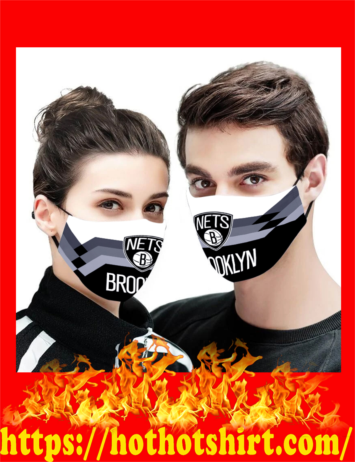 Brooklyn Nets NBA face mask - detail