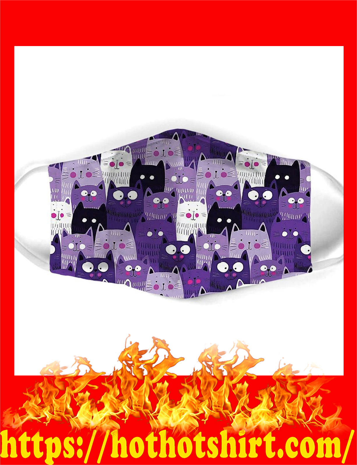 Cat all over prints cloth mask - detail