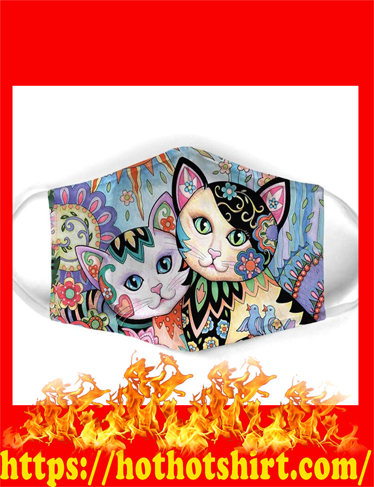 Cat all over prints face mask - detail