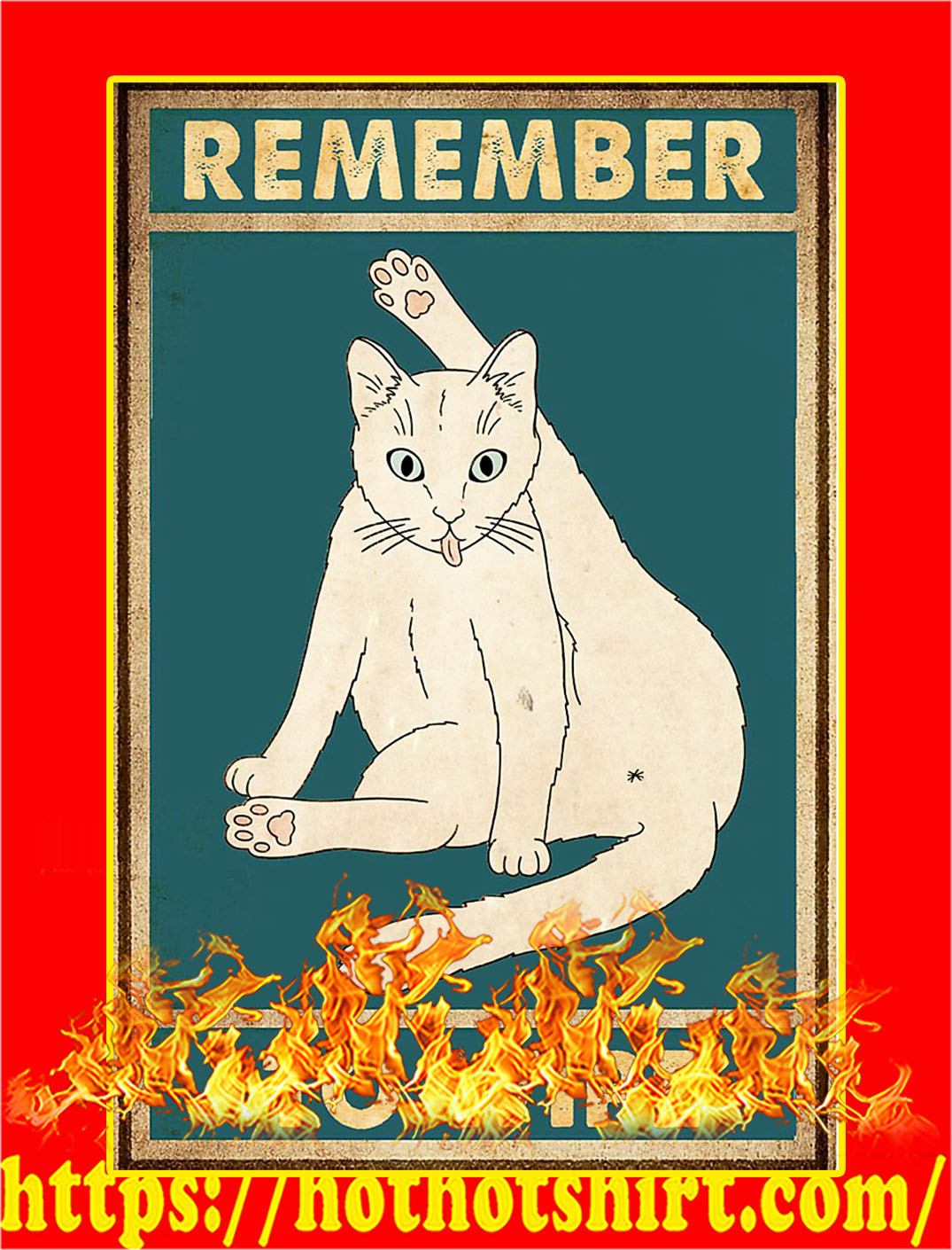 Cat remember to wipe poster - A2