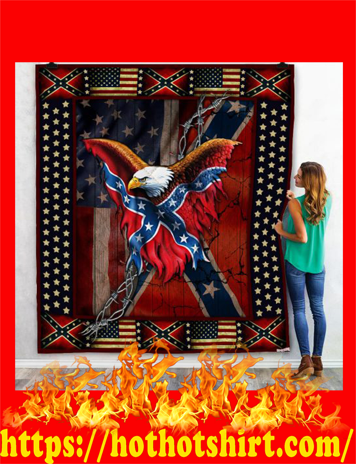 Confederate american history quilt blanket 1