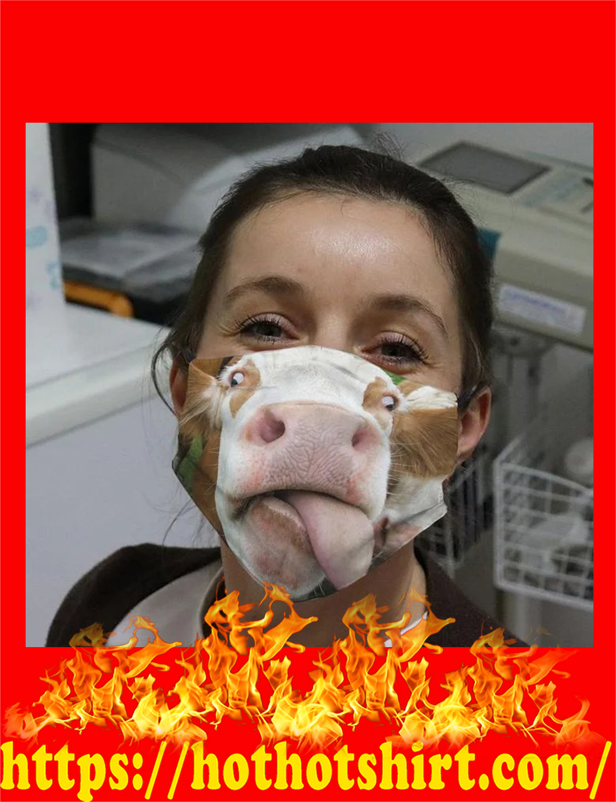 Cow sticking out tongue face mask