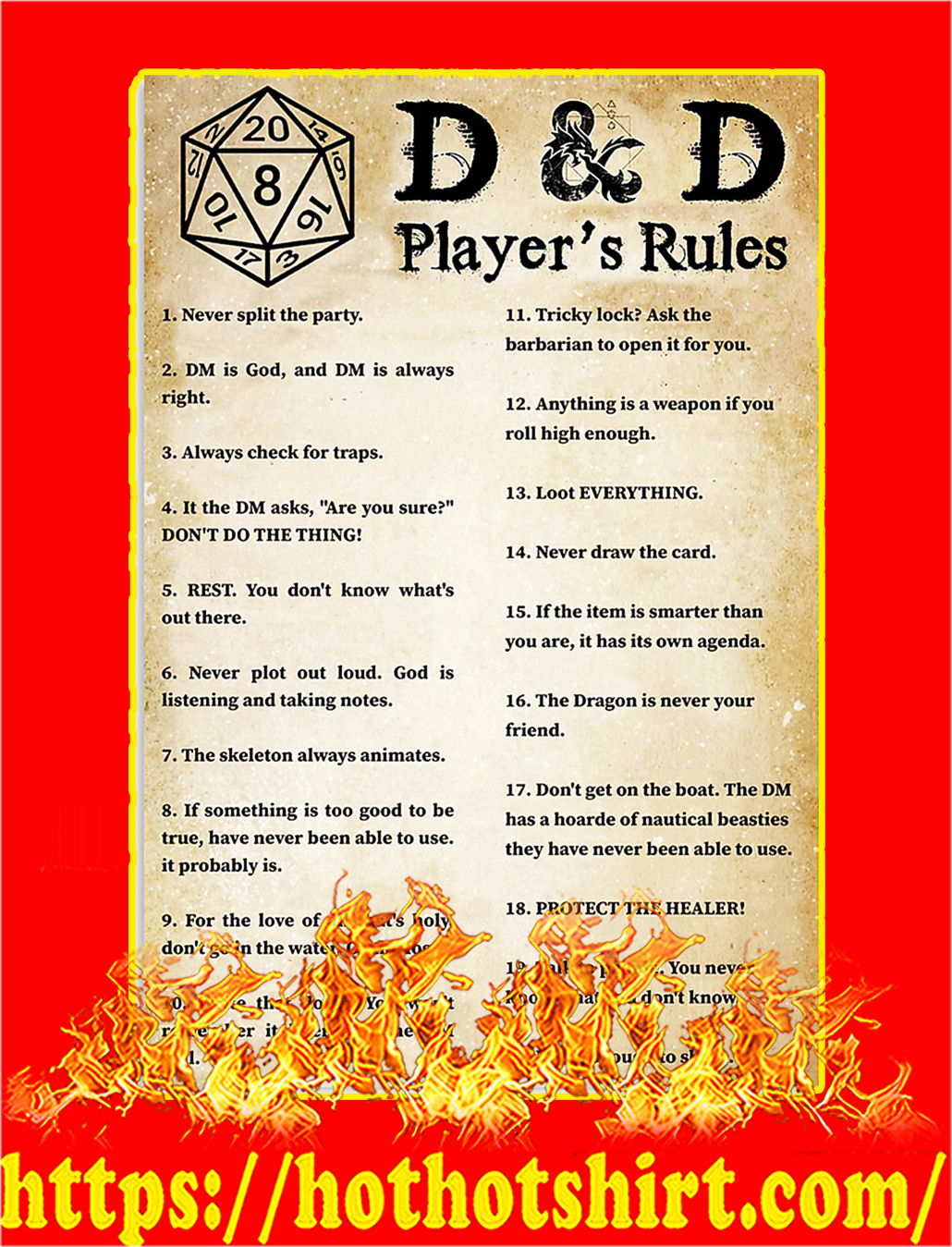 D&D player's rules poster - A1