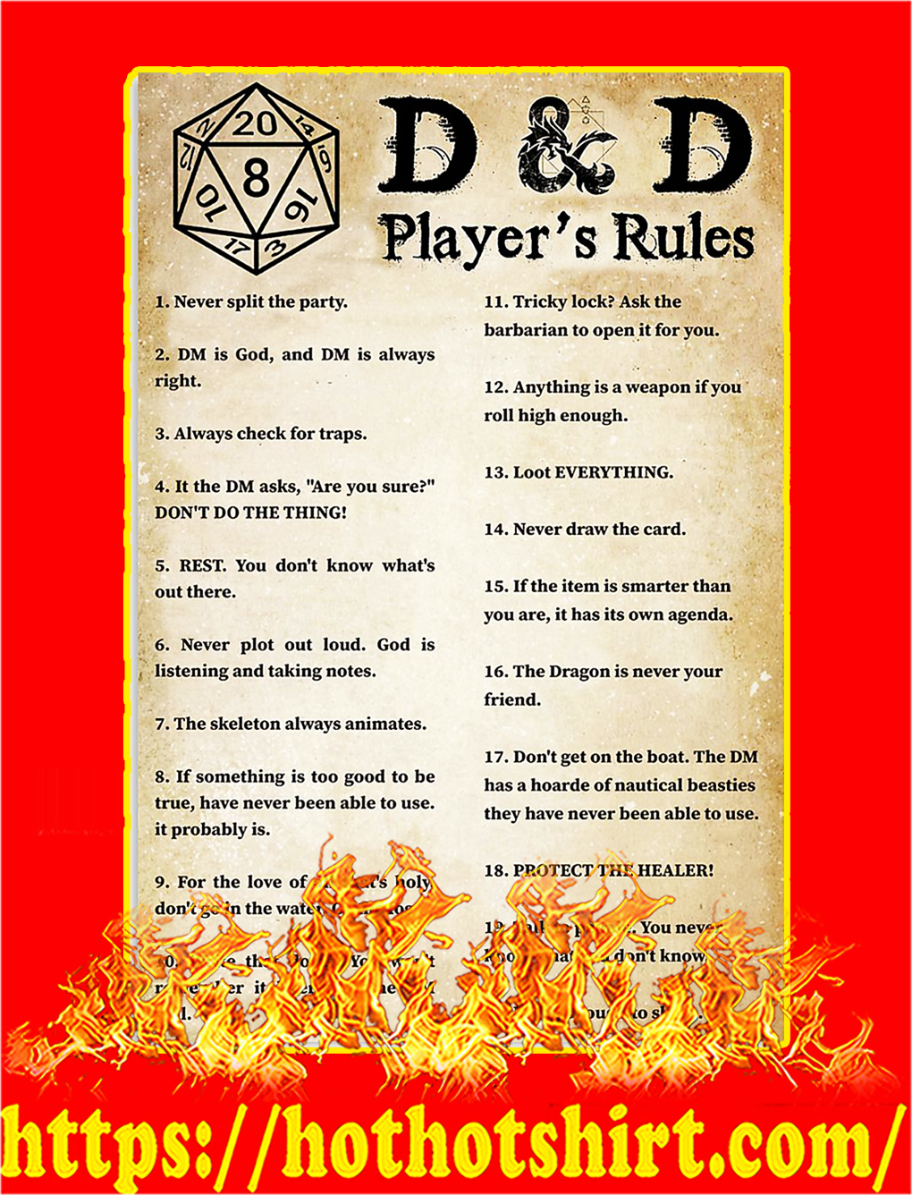 D&D player's rules poster - A3
