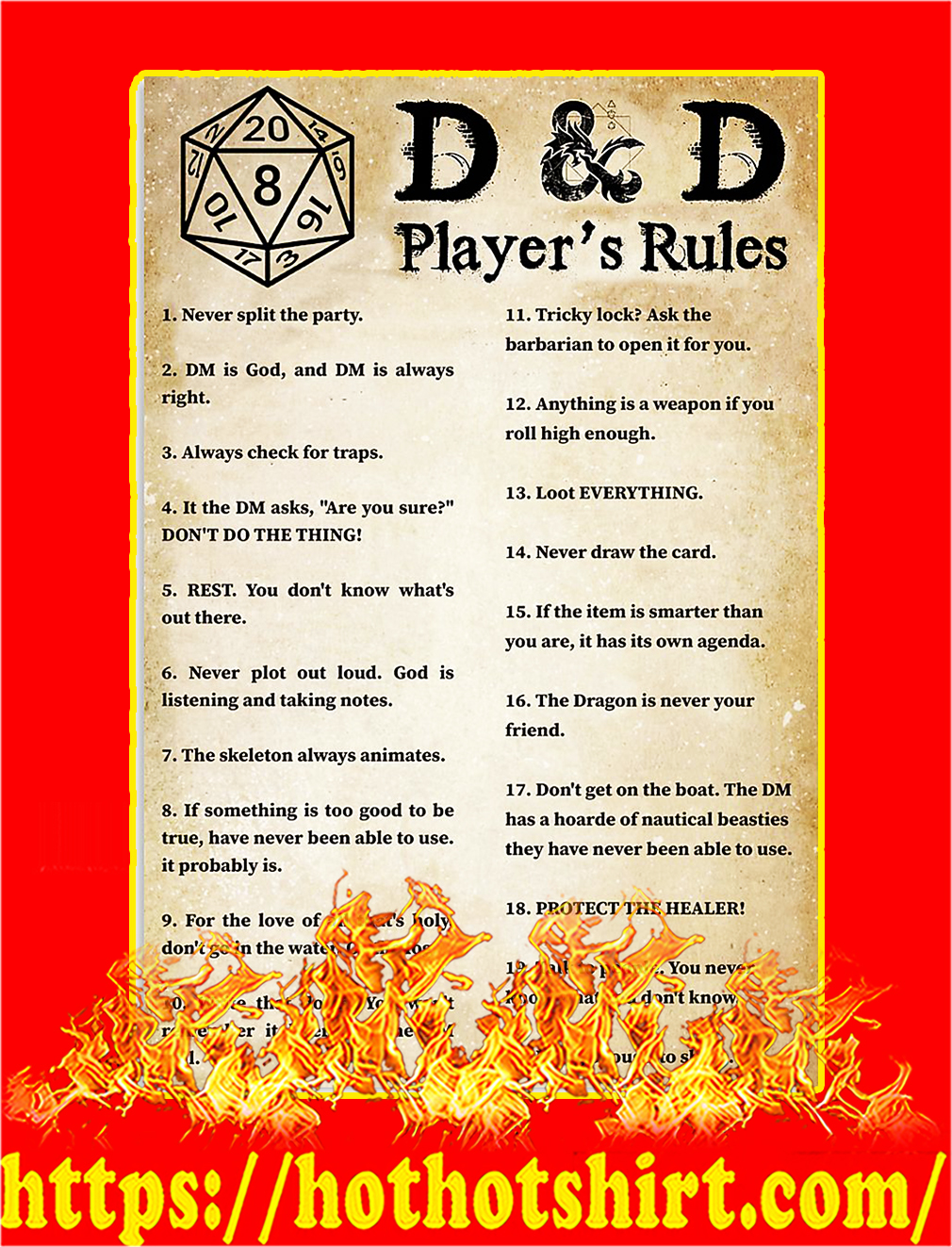 D&D player's rules poster - A4