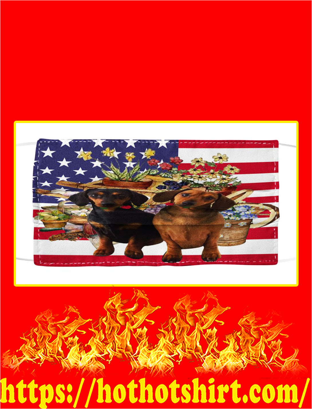 Dachshund american flag and flowers face mask
