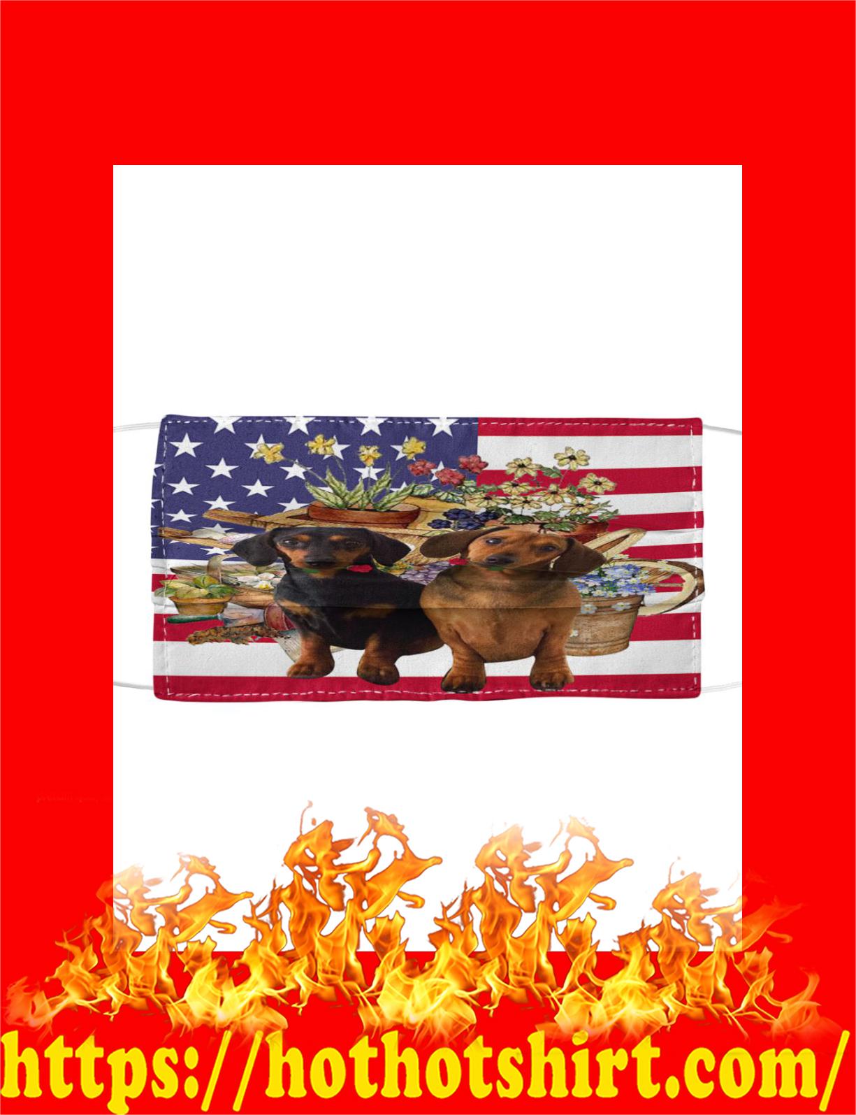 Dachshund american flag flower cloth mask - detail