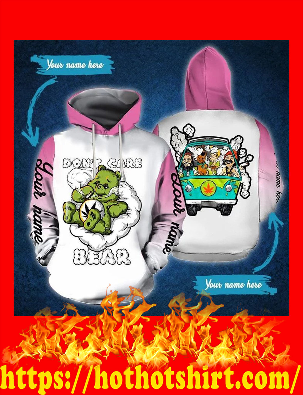 Don't care bear weed cannabis personalize custom name hoodie - pink