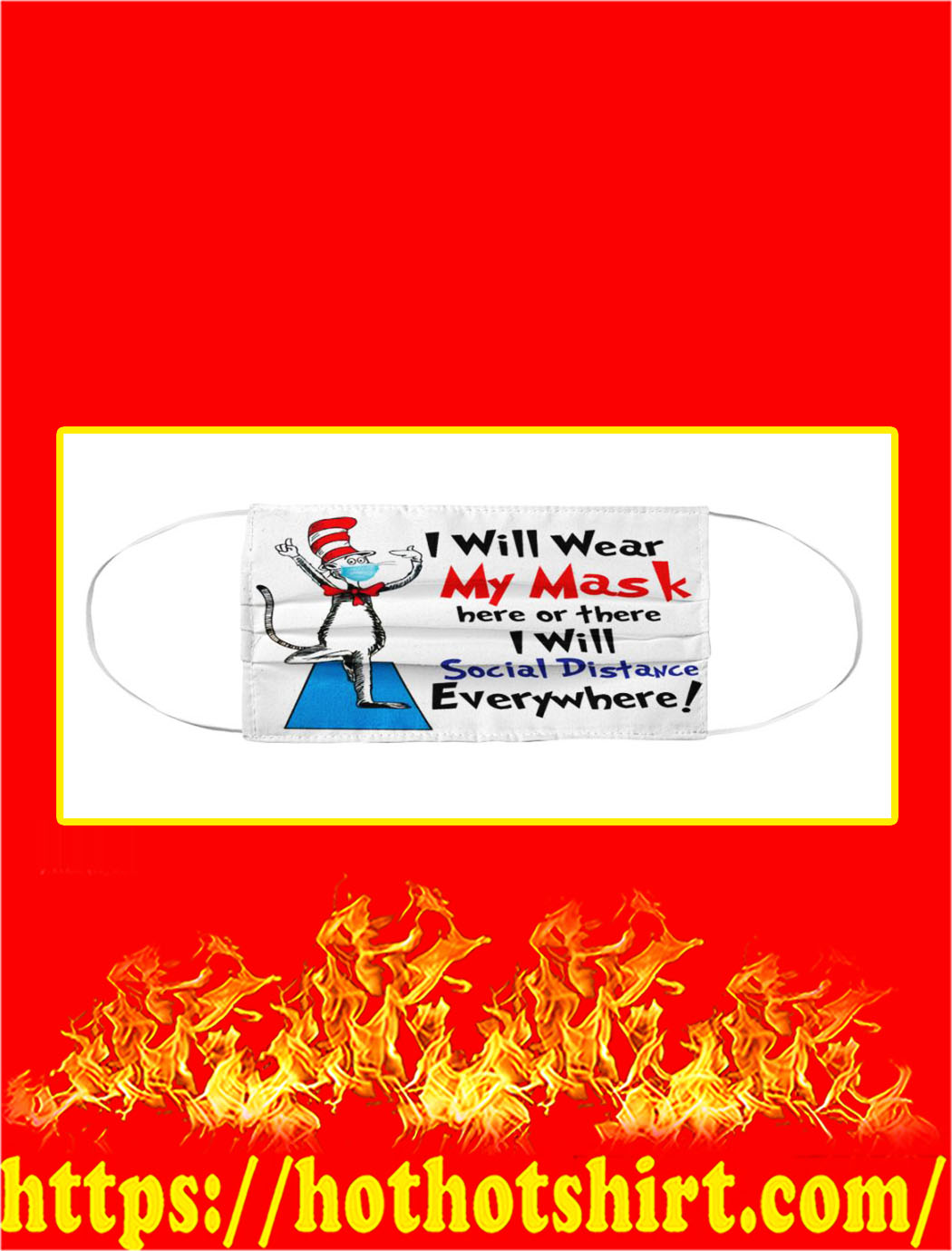 Dr seuss i will wear my mask cloth mask- pic 1