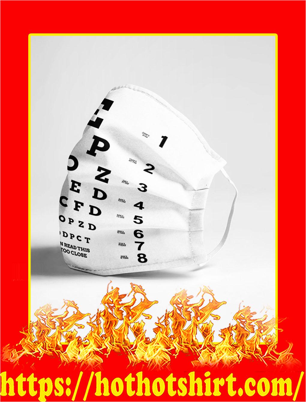 Eye chart close face mask- pic 1