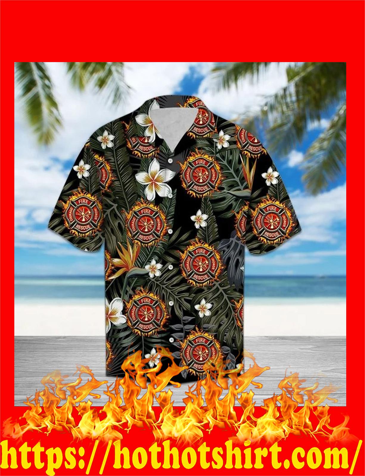 Firefighter tropical hawaiian shirt - detail