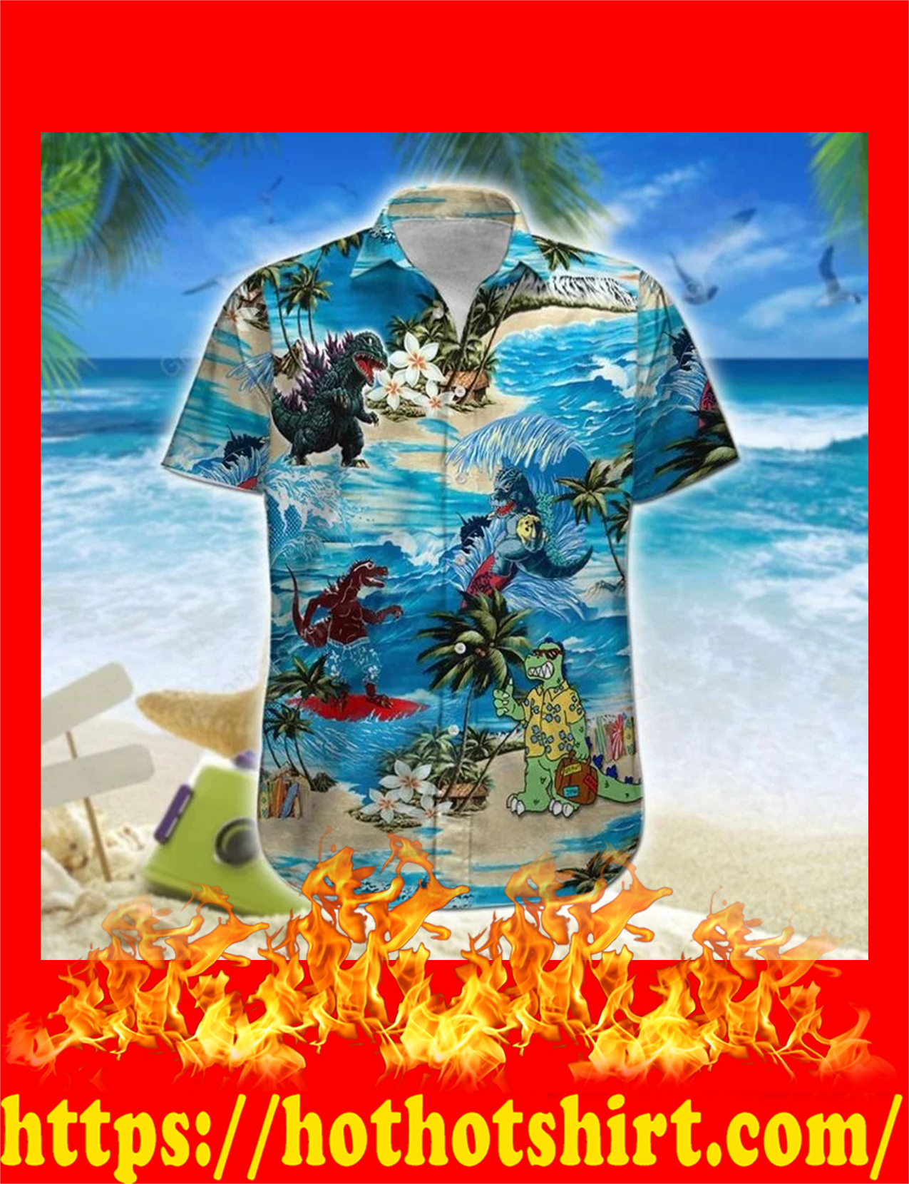 Godzilla hawaiian shirt and short 2