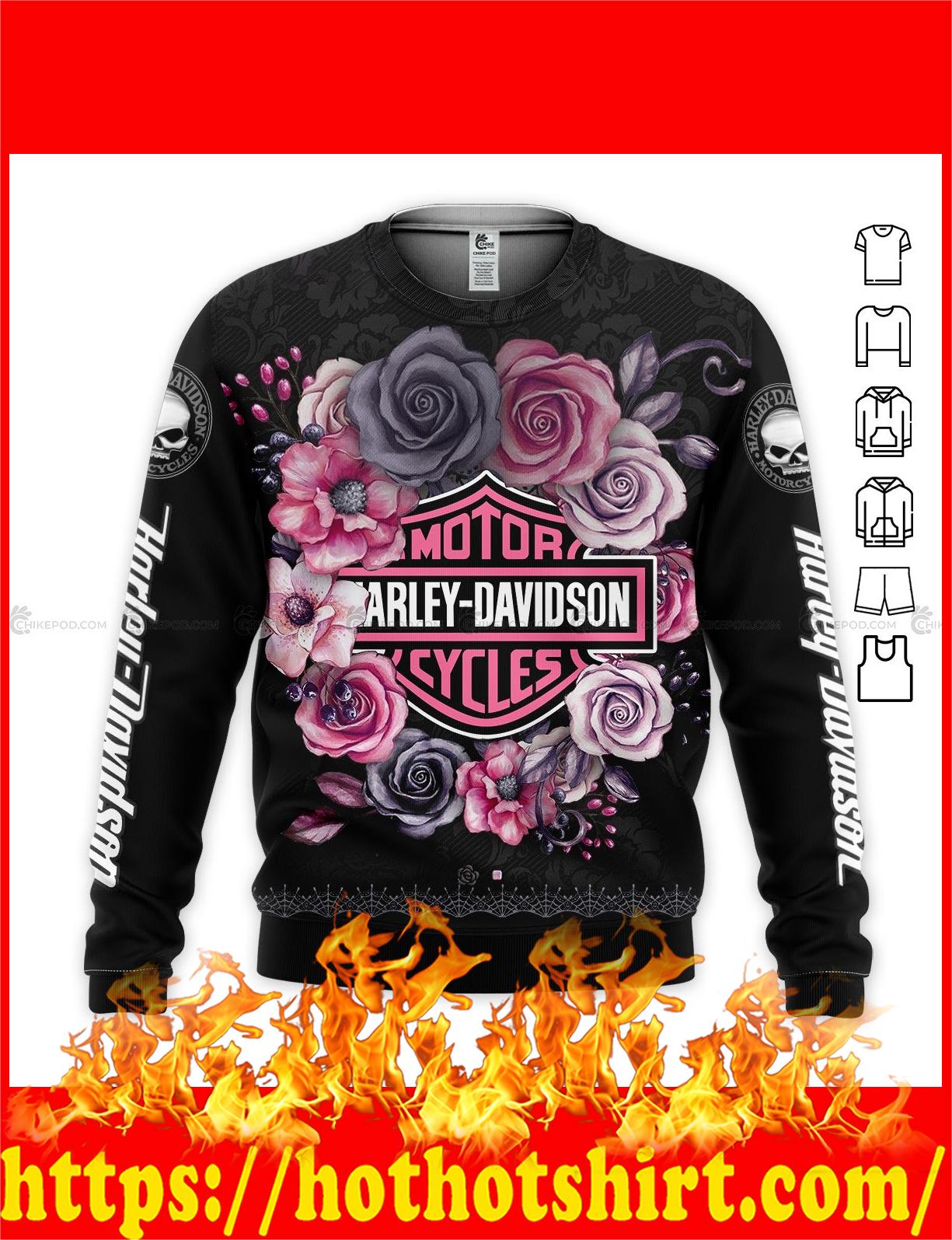 Harley davidson flower all over printed 3d Long sleeves